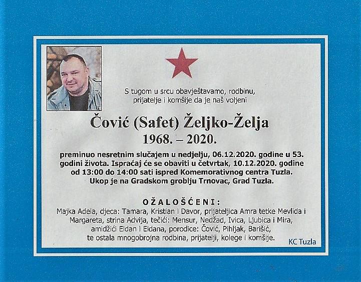 Preminuo Čović Željko Želja