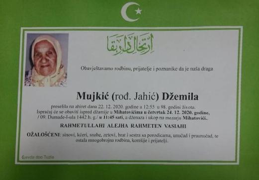 Preminula je Džemila Mujkić