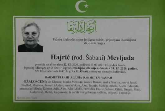 Preminula je Mevljuda Hajrić