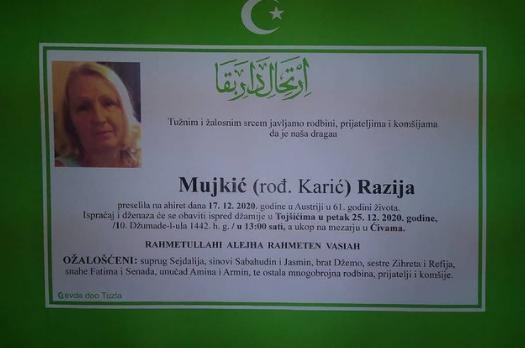 Preminula je Razija Mujkić