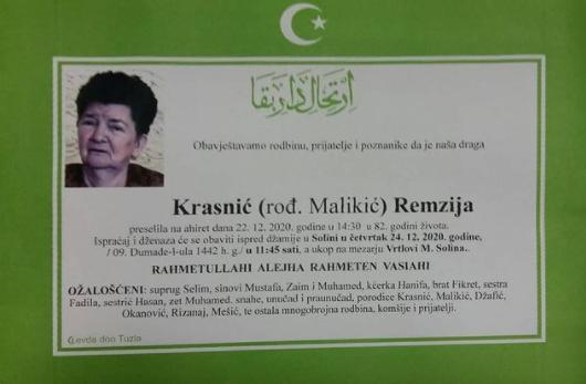 Preminula je Remzija Krasnić