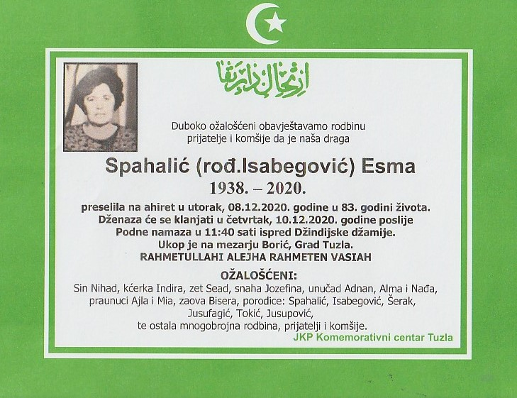 Preminula Esma Spahalić