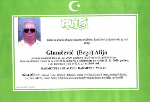 Preminuo je Alija Glumčević