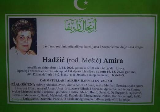 Preminula je Amira Hadžić