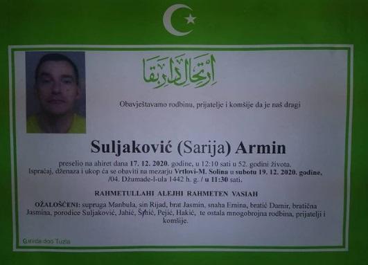 Preminuo je Armin Suljaković