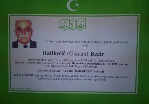 Preminuo je Bećir Halilović