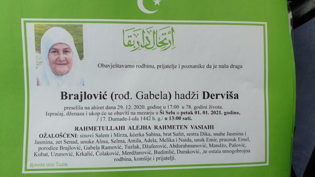 Preminula je Derviša Brajlović