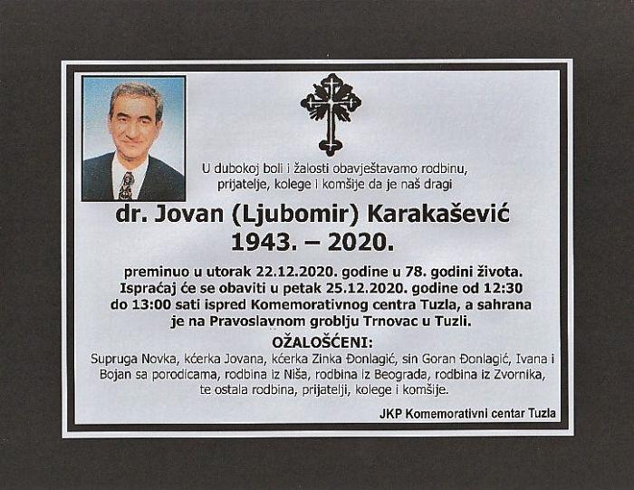 Preminuo je dr. Jovan Karakašević