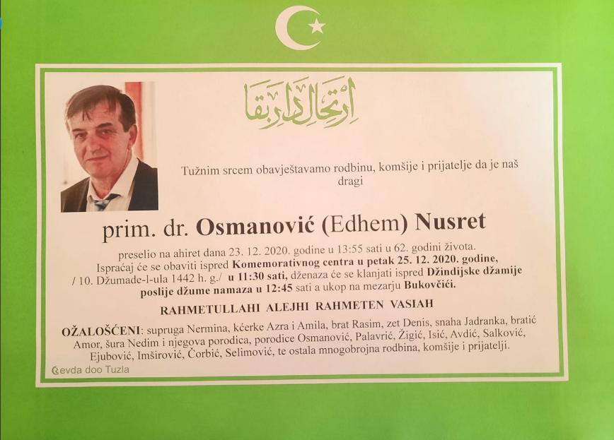 Preminuo je prim. dr. Nusret Osmanović