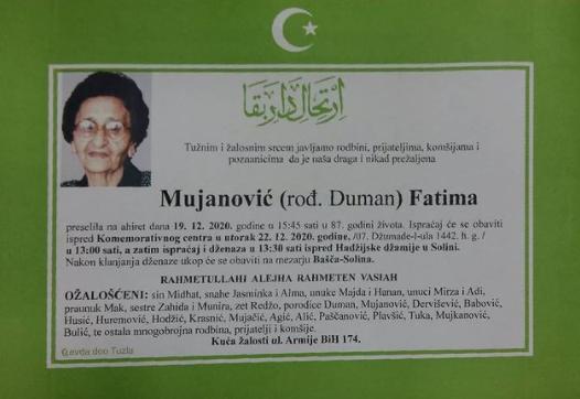 Preminula je Fatima Mujanović