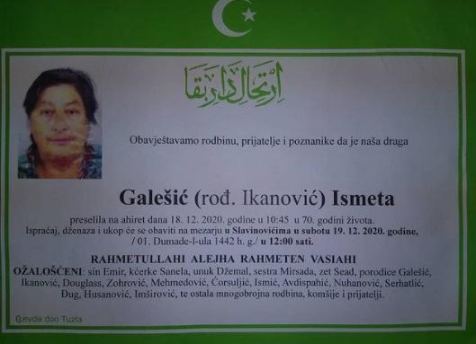 Preminula je Ismeta Galešić