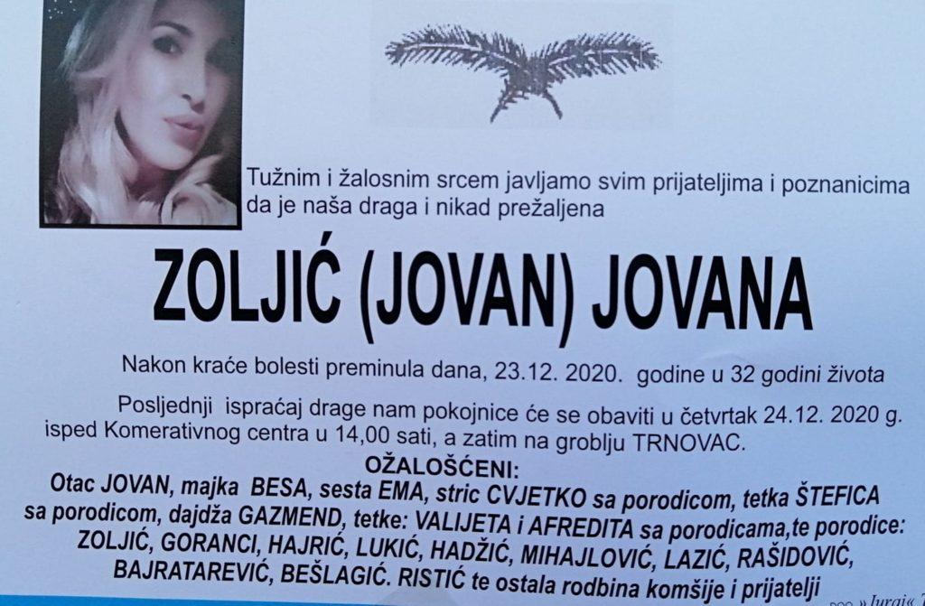 Preminula je Jovana Zoljić