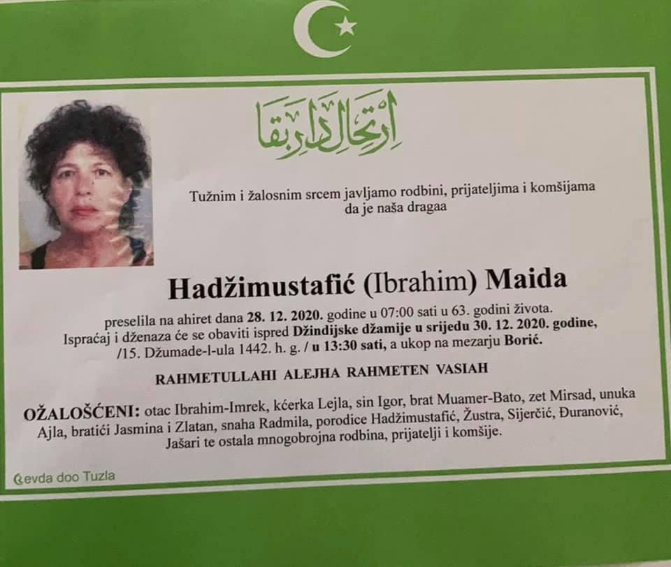Preminula je Maida Hadžimustafić