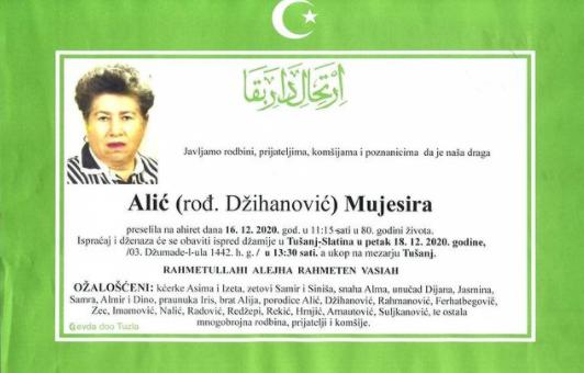 Preminula Mujesira Alić