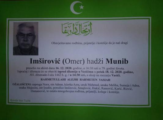 Preminuo Munib Imširović