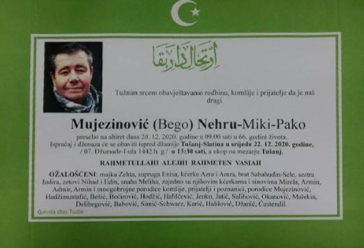 Preminuo je Nehru Mujezinović