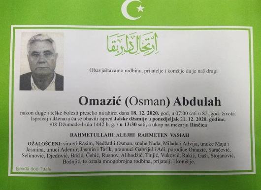 Preminuo je Abdulah Omazić