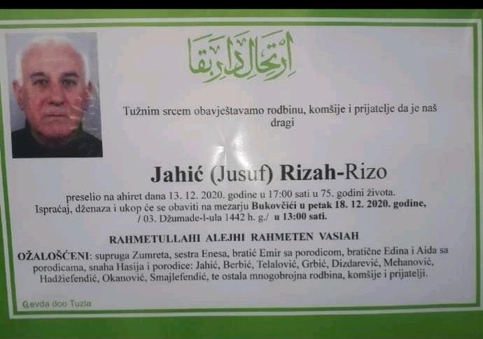 Preminuo je Rizah Jahić Rizo