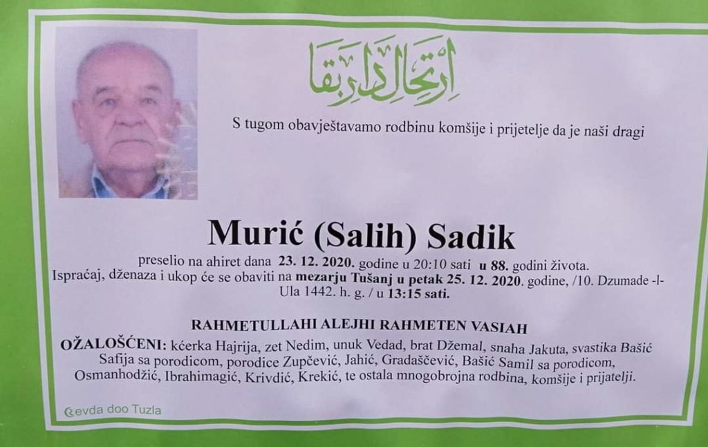 Preminuo je Sadik Murić