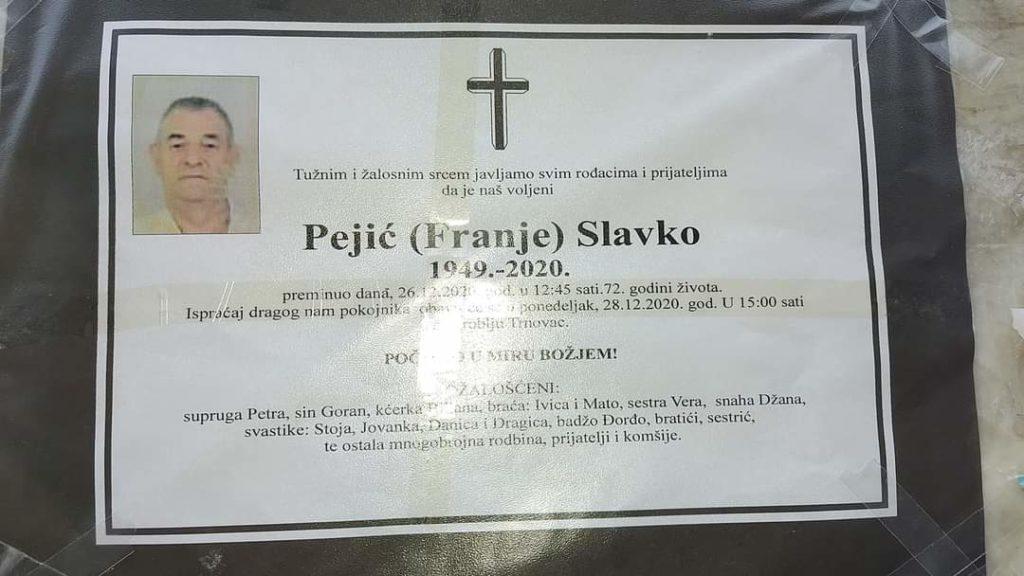 Preminuo je Slavko Pejić