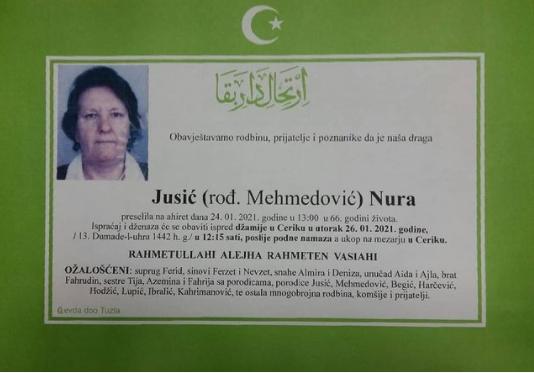 Preminula je Nura Jusić