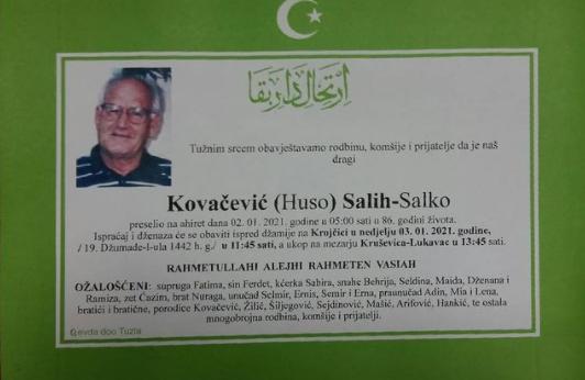 Preminuo je Salih Kovačević Salko