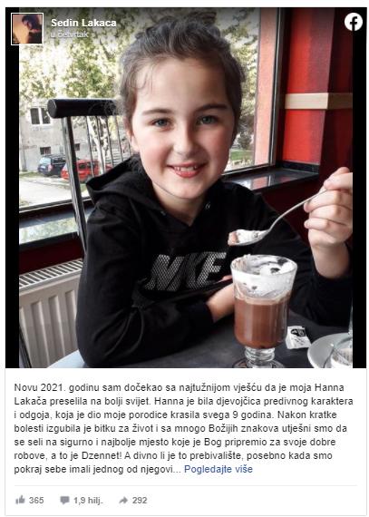 Tuga u BiH: Danas je dženaza devetogodišnjoj Hanni