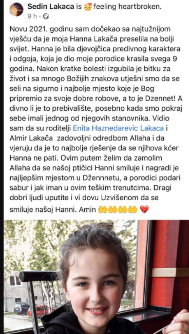 Tuga u BiH: Preminula 9-godišnja djevojčica