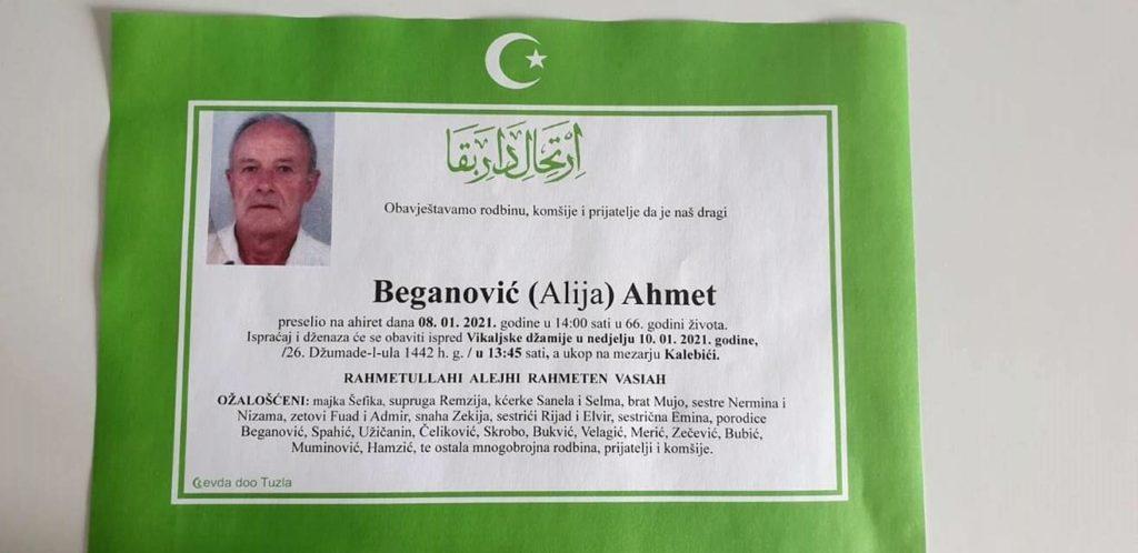 Preminuo je Beganović Ahmet