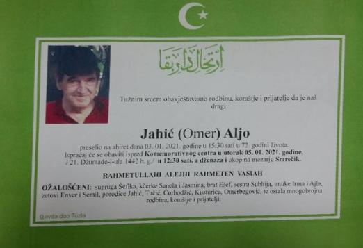 Preminuo je Aljo Jahić