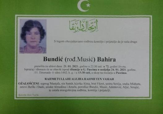 Preminula je Bahira Bundić