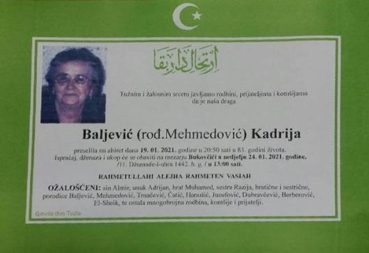 Preminula je Kadrija Baljević