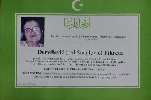 Preminula je Fikreta Dervišević