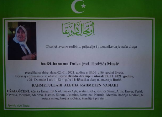 Preminula je hadži-hanuma Đulsa Musić