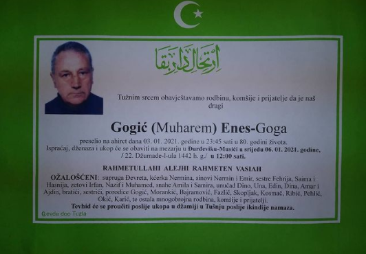 Preminuo je Enes Gogić Goga