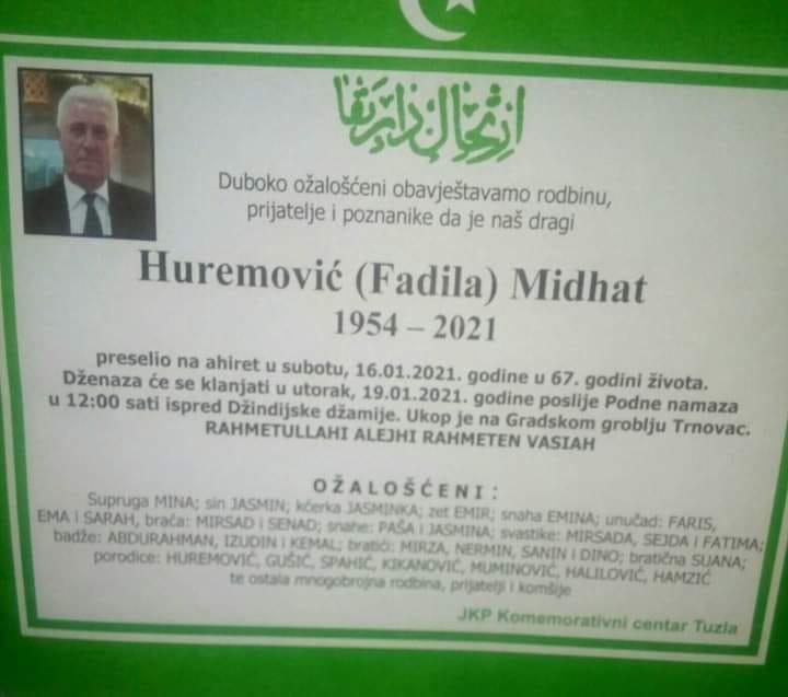 Preminuo je Midhat Huremović