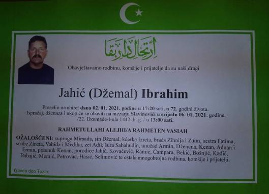 Preminuo je Ibrahim Jahić