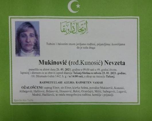 Preminula je Nevzeta Mukinović