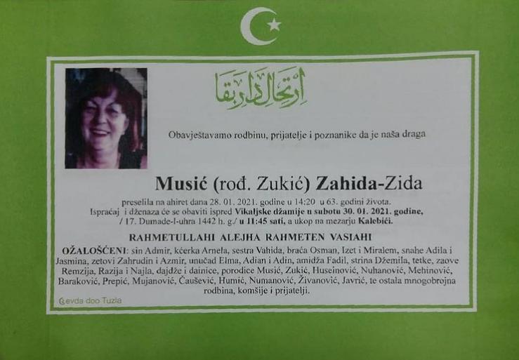 Preminula je Musić Zahida