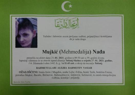 Preminula je Nađa Mujkić