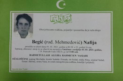 Preminula je Nafija Begić