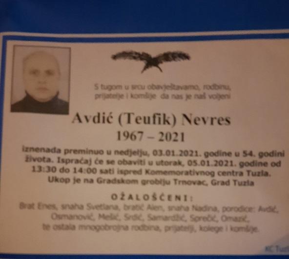 Preminuo je Nevres Avdić
