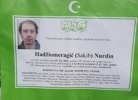 Preminuo je Nurdin Hadžiomeragić
