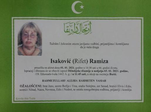 Preminula je Ramiza Isaković