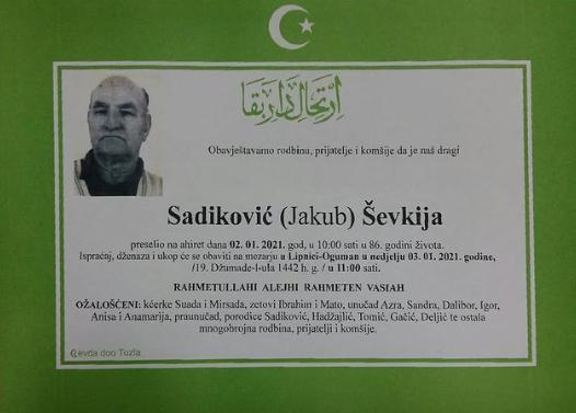 Preminuo je Šefkija Sadiković