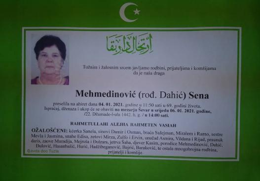 Preminula je Sena Mehmedović