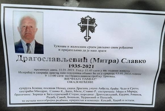 Preminuo je Slavko Dragoslavljević