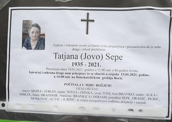 Preminula je Tatjana Sepe