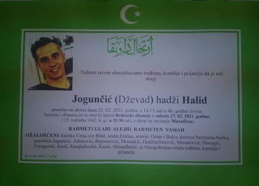 Preminuo je Halid Jogunčić