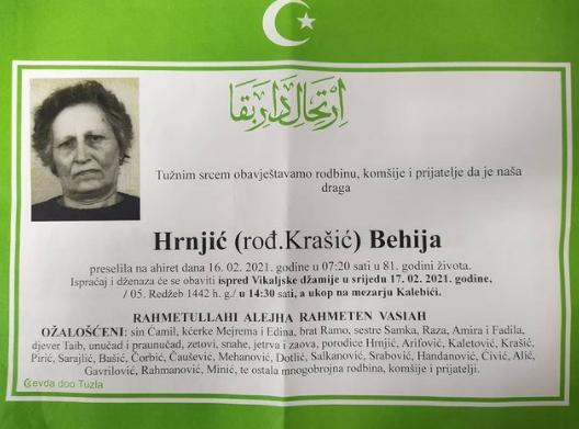 Preminula je Behija Hrnjić